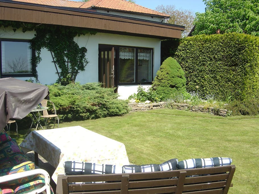 Garden furniture and barbeque