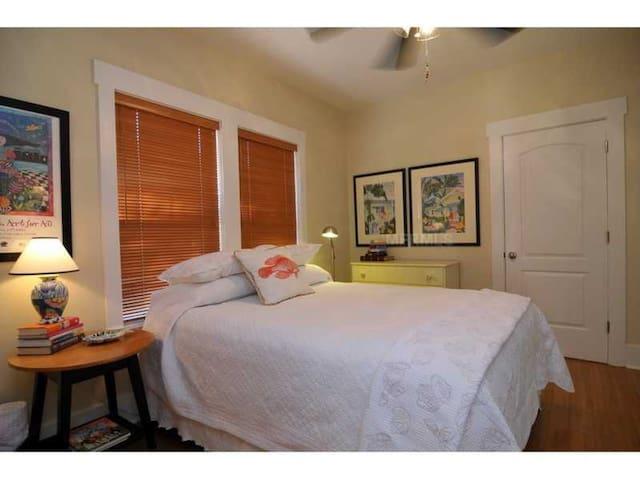 Master bedroom; Queen bed now has a headboard