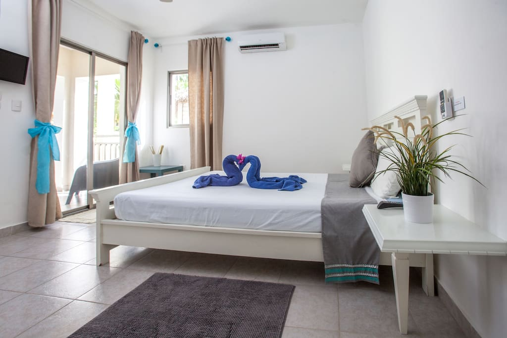 Spacious Bedroom with Private bedroom and private balcony / AC / WIFI / TV / Ceiling Fan / Safe