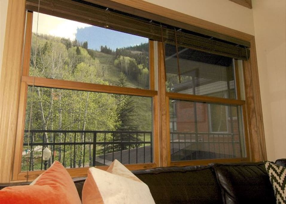 Cimarron Lodge 15 living room with views of Telluride Ski Resort and Lift 7