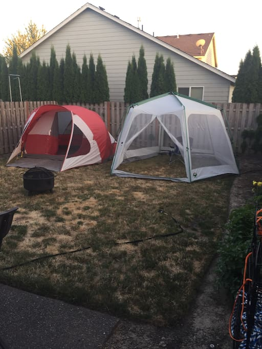 Fenced backyard with a tent and a screened gazebo