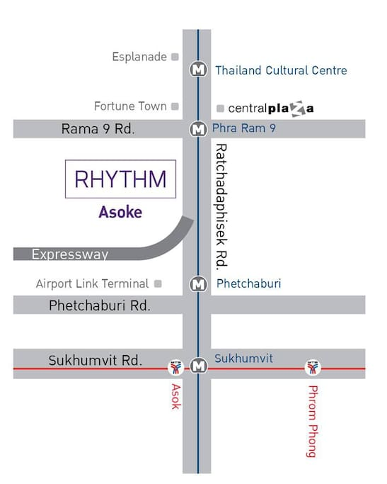 Map of Rythm Asoke 350 meters from Airport Link Station Makasan 300 meters from Central Rama 9 250 meters from Fortune IT Mall 250 meters from MRT Station Phraram 9... See More