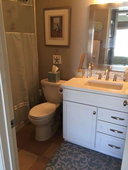 Clean, updated bathroom