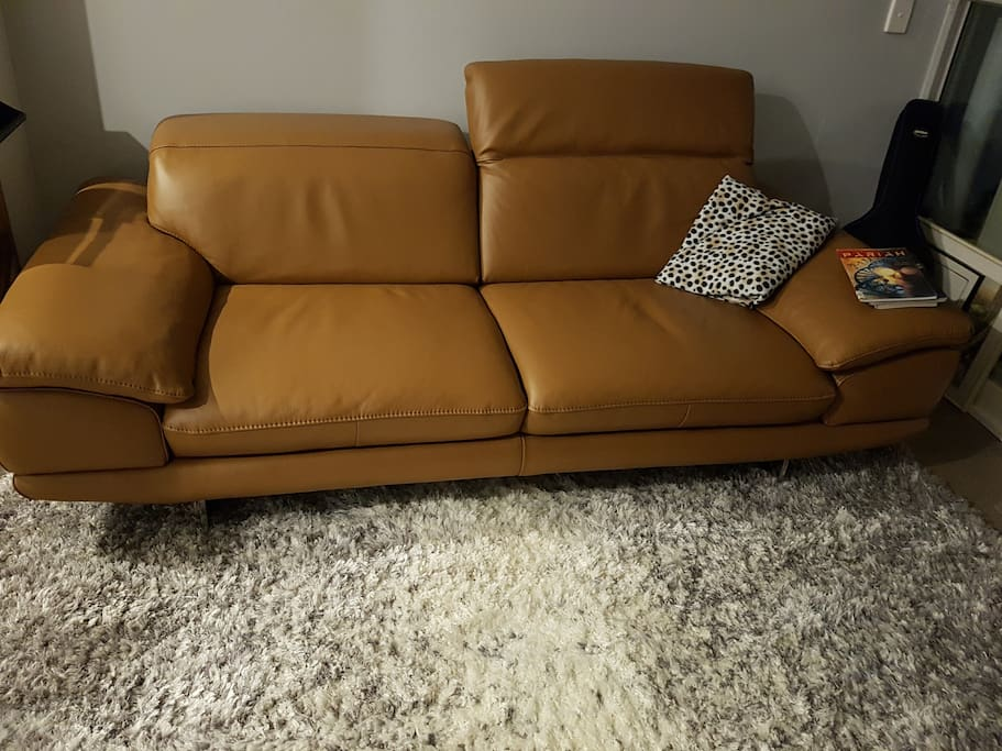 Our funky couch and fluffy rug