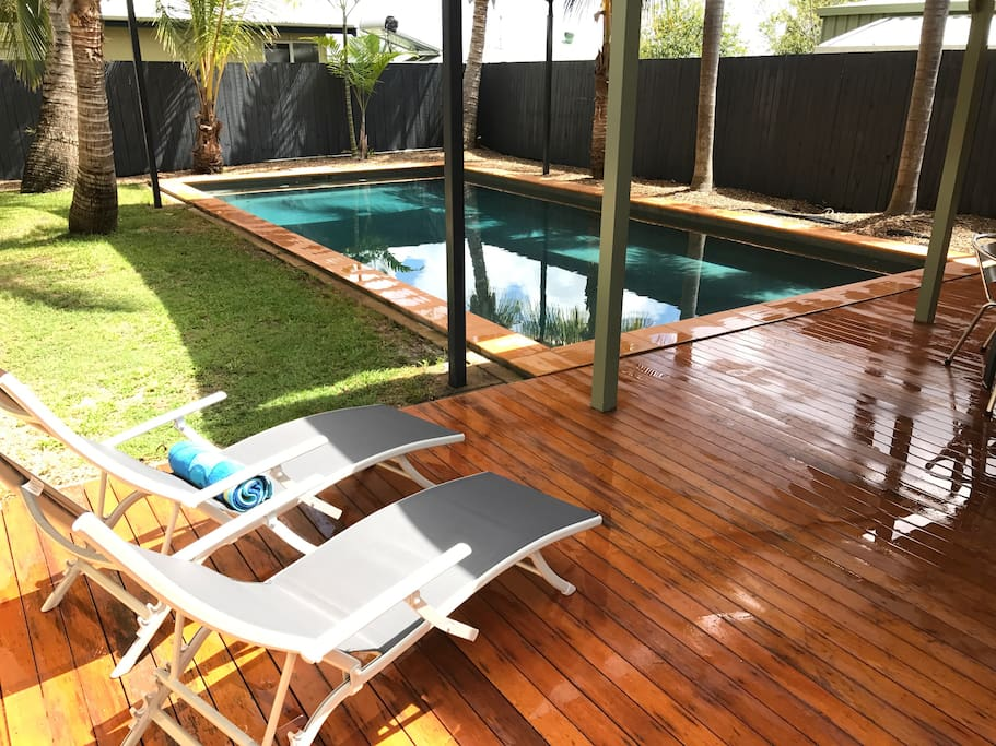 Private pool area with undercover deck and bbq