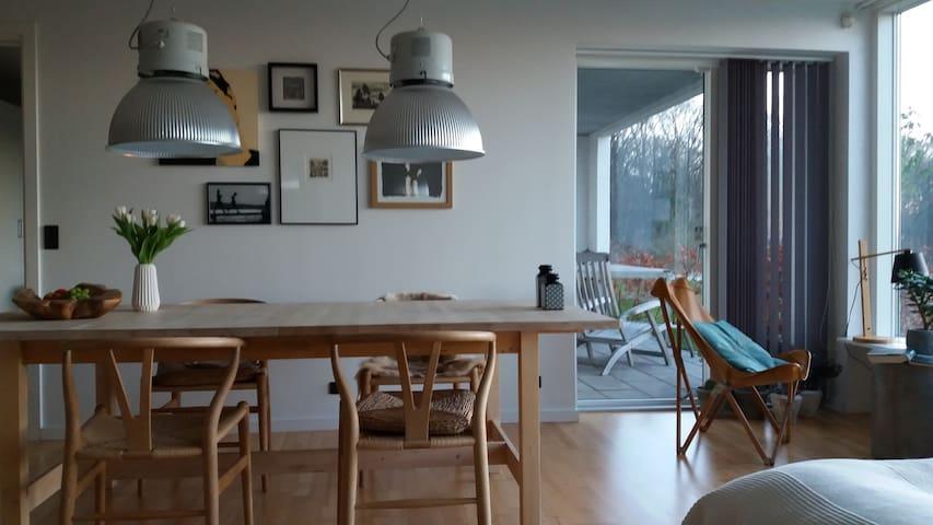 Lys lejlighed med terrasse og udsigt