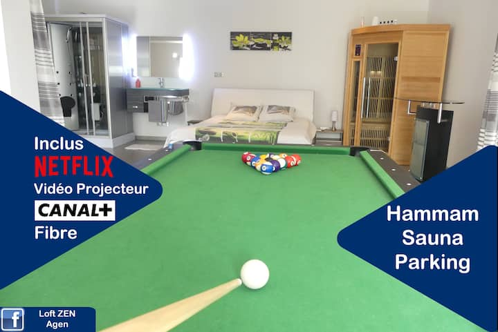Agen Loft avec billard,  sauna, hammam, parking