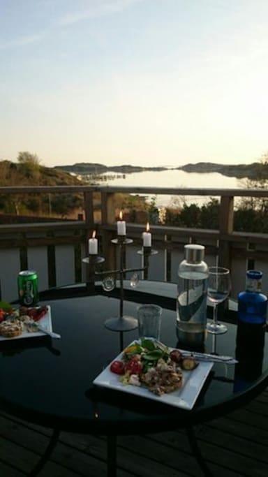 Enjoy a dinner from the terrace.