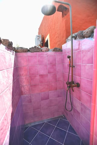 External shower with hot water