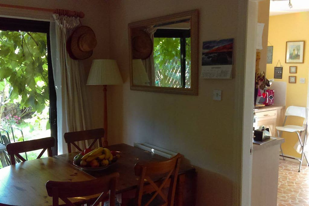 Full breakfast laid out for you to have at your leisure when you get up; shared dining room, patio to back garden; welcome to play the piano/acoustic guitars if respectful.