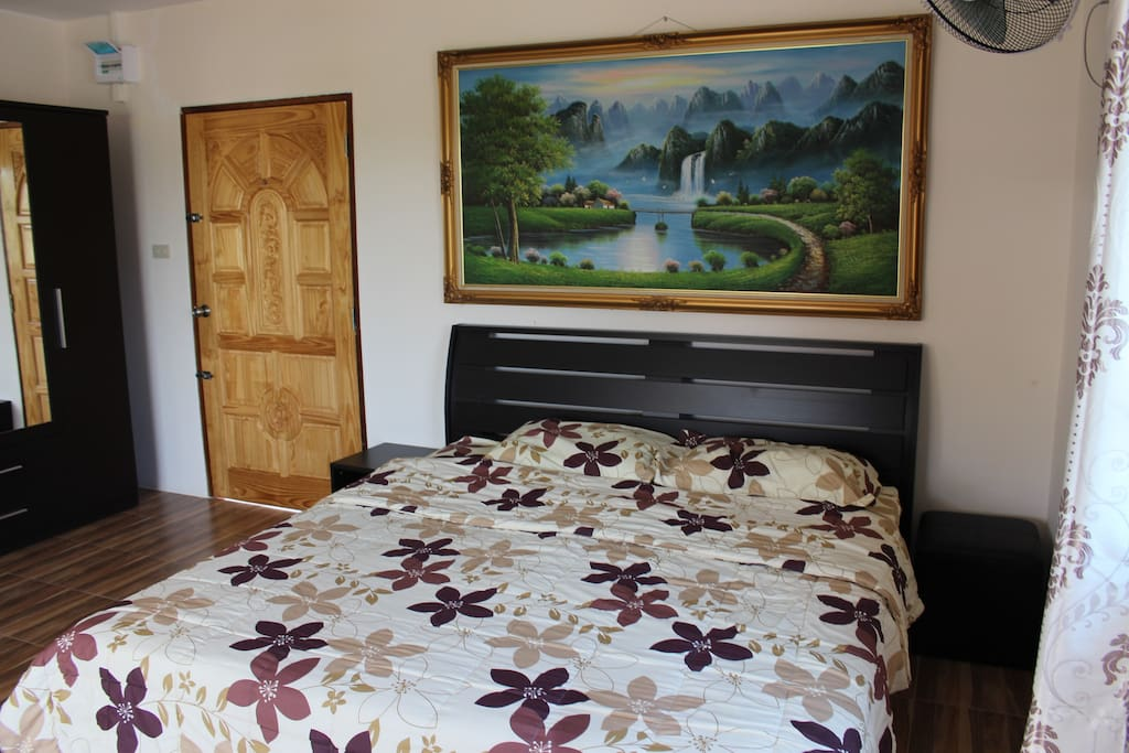 Nice King Size bed with lovely garden views