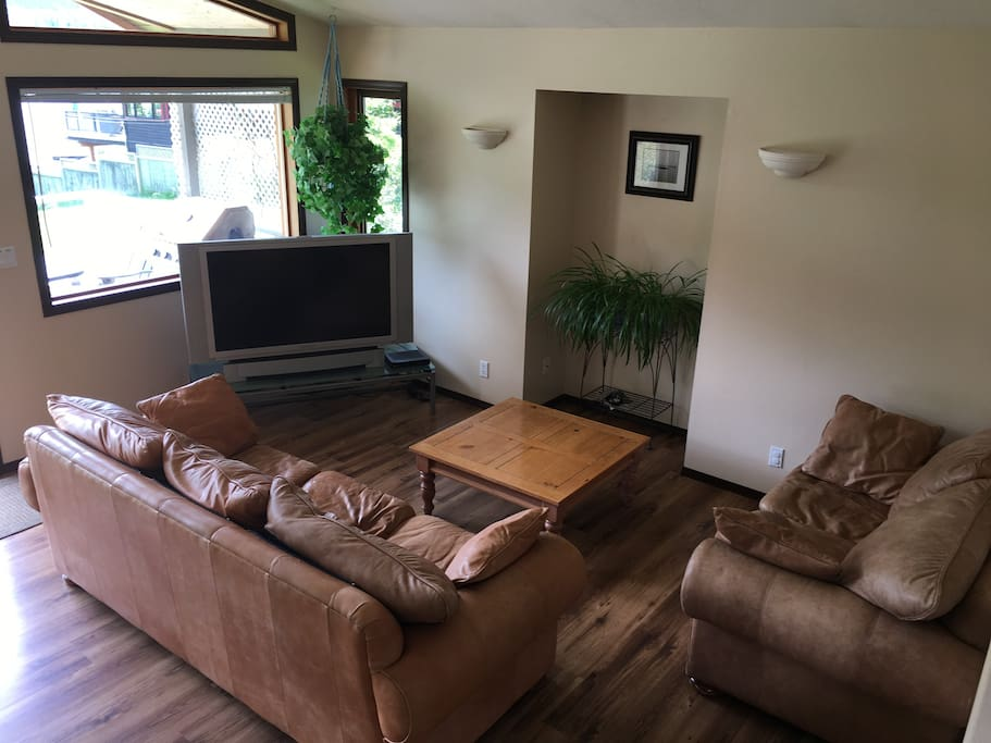 Sunken living room with leather sofas and satellite TV