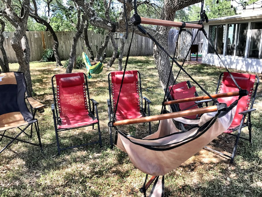 Back yard sitting area, hammock horseshoe pit