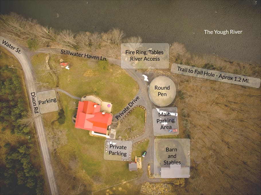 Aerial view of the property with notations