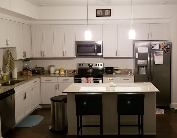 Large kitchen for your convenience, cook as much as you like! A designated shelf is available for you in the refrigerator.