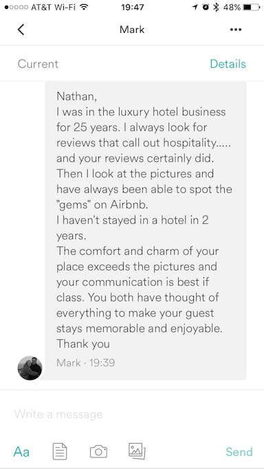 Just a nice message we received from a veteran in the luxury hospitality business.