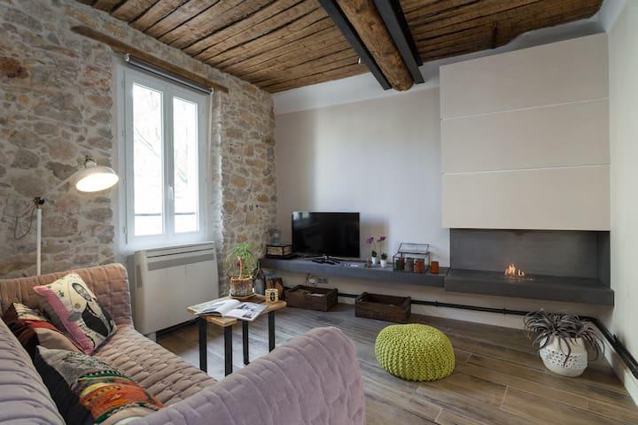 Salon climatisation reversible et coin cheminée