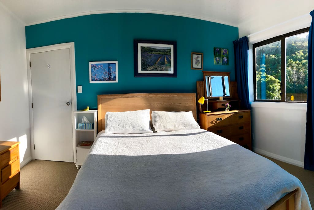 Blue room (excuse fish-eye - we really do have straight walls)
