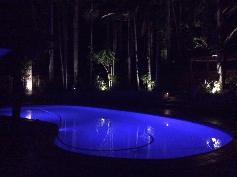 Pool lights up at night