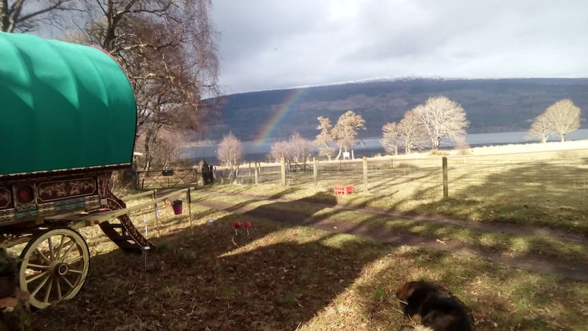 Romany Gypsy Caravan, Fort William, what a view!!