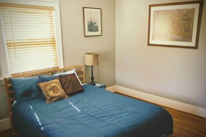 Peaceful master bedroom in a fun neighborhood