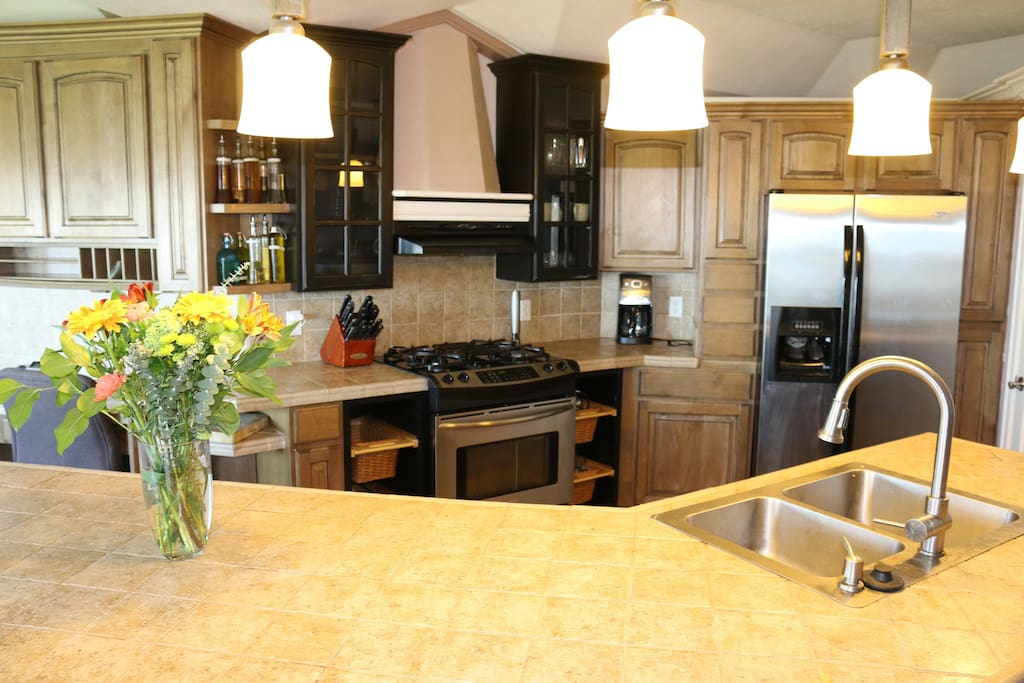 Modern kitchen with gas cook top and convection oven