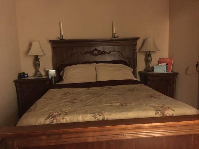 Master bedroom/private bath in East Davis Home.