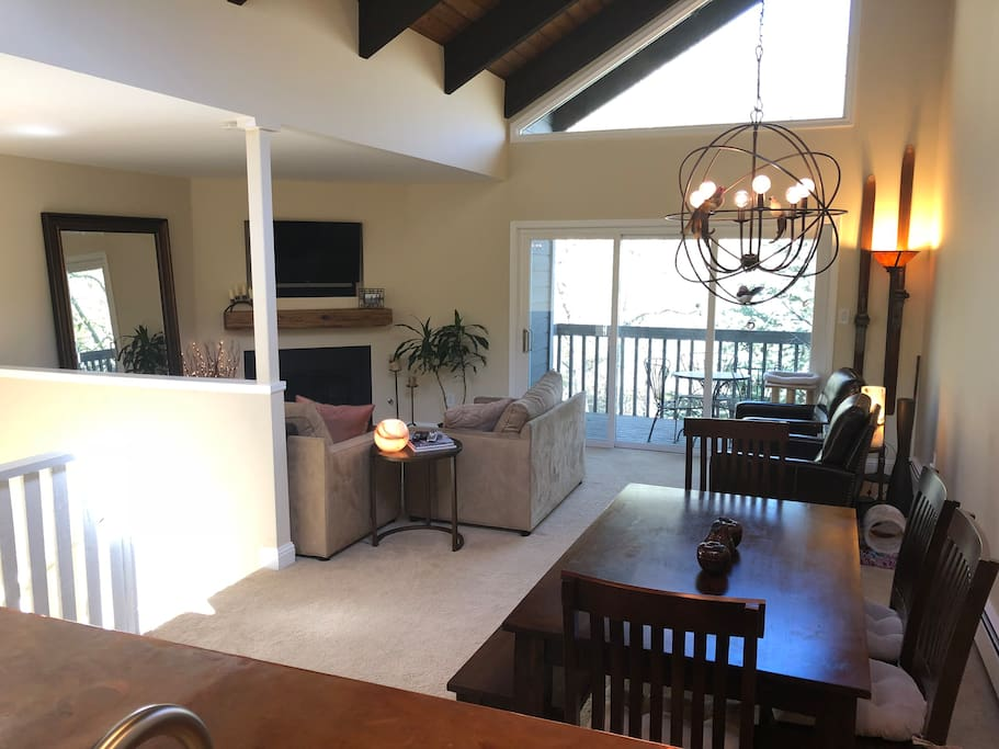 Comfortable living space with separate game/tv room downstairs.  Perfect for families!