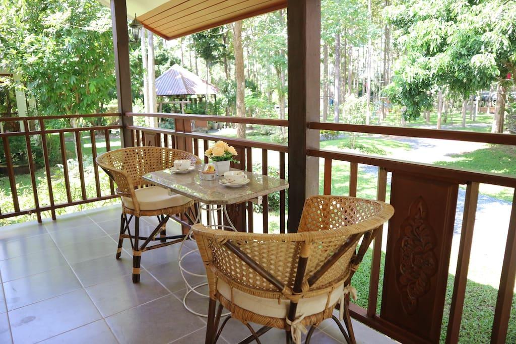 balcony for coffee or tea