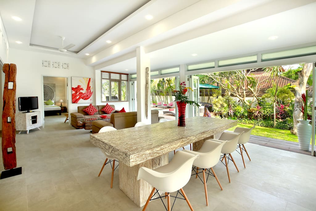 enclosed living area with sliding doors to open to the garden