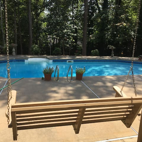 Beautiful private  pool, basement apartment