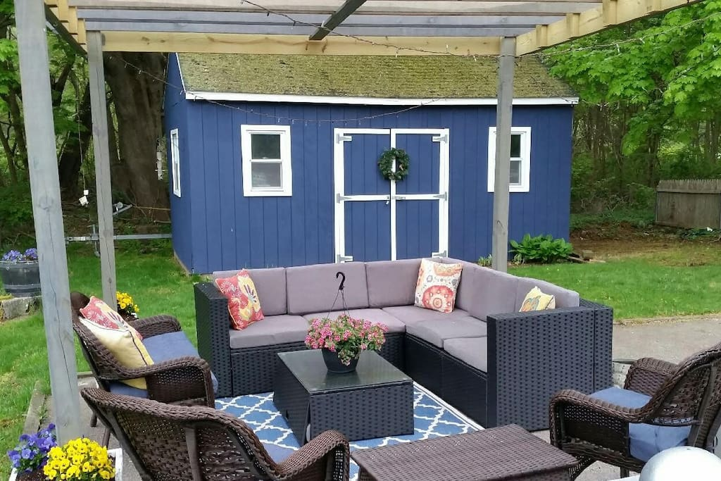 Back yard with outdoor living space