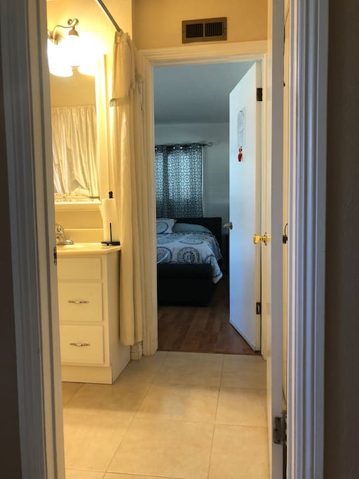 The entrance to your private bathroom and master bedroom