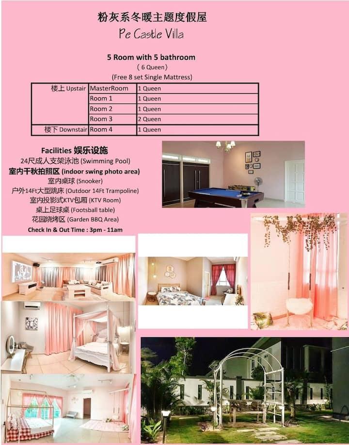 Desaru Pink Villa 梦幻粉色私人泳池度假屋