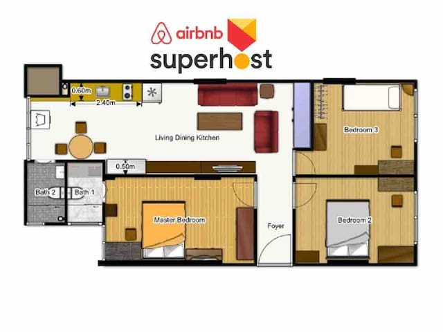 Apartment floor area is 77 sqm (829 sqft)