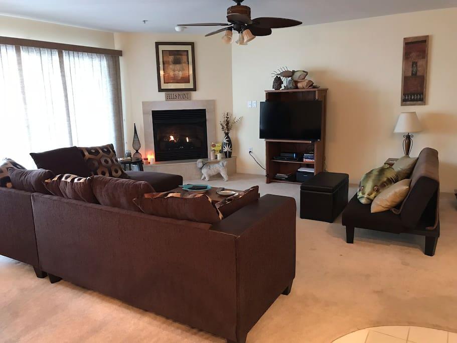 living area w fireplace TV fan