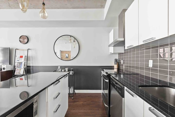 Kitchen with Island is updated with all the new appliances and today's new trend: Pour Over Coffee