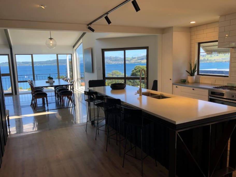Open plan kitchen with beautiful views
