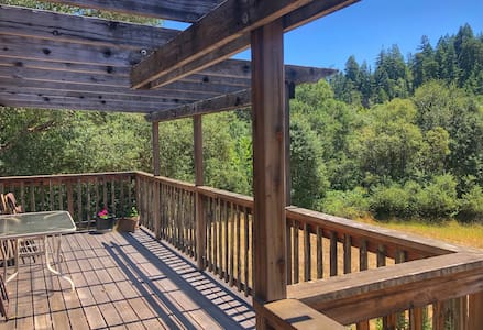 Lodge w/ deck over meadow and access to river