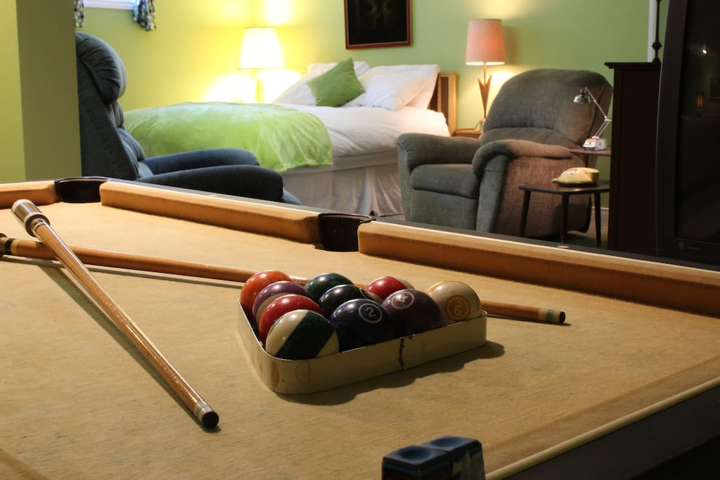 Relax with our mini pool table.