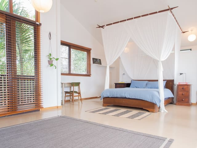 The studio is large and flooded with natural light. This is the comfortable queen bed from the position of the sofa. This is a great spot to relax.