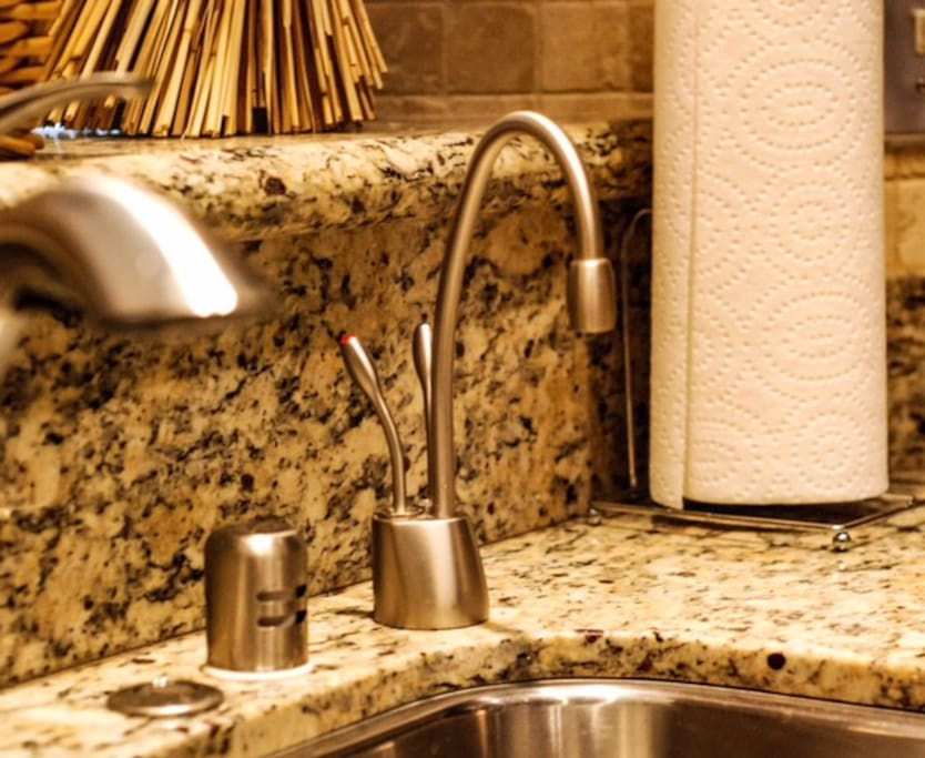 Our recently remodeled kitchen features filtered reverse osmosis water for drinking, and instant hot water for oatmeal, a quick cup of instant coffee or warming a baby bottle.  The garbage disposal is activated by a convenient stainless steel button on the granite countertop.