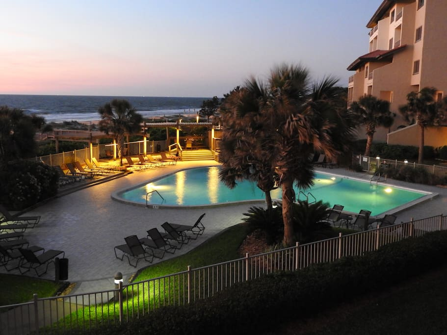Oceanfront beautiful pool viewed from your balcony at dawn.