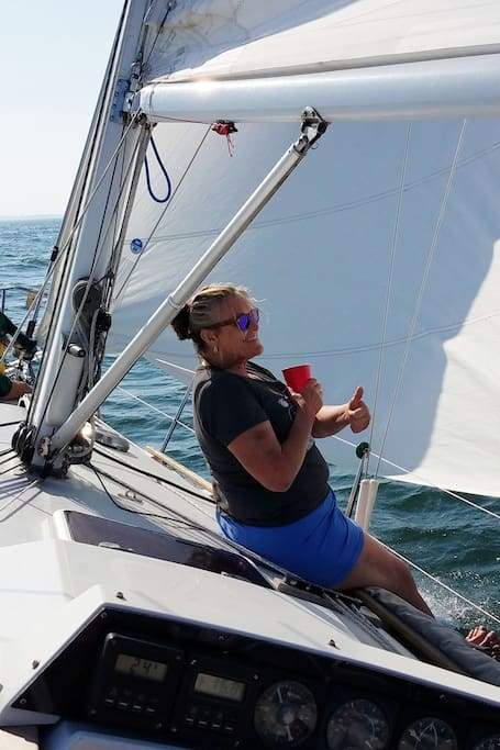 Enjoying wind and waves