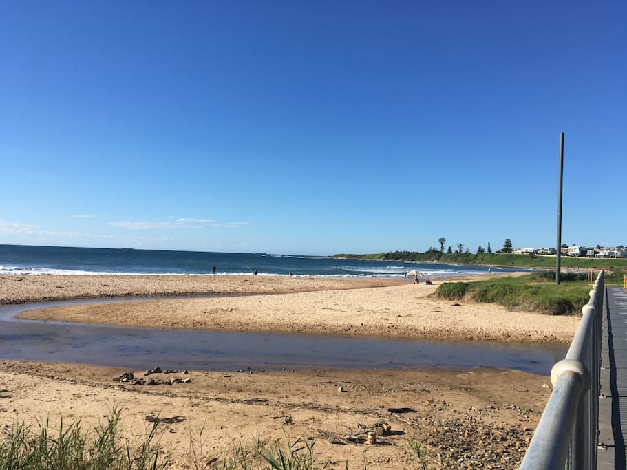 View across the road towards Sandon Point access to pet friendly beach , bike track and bush walks