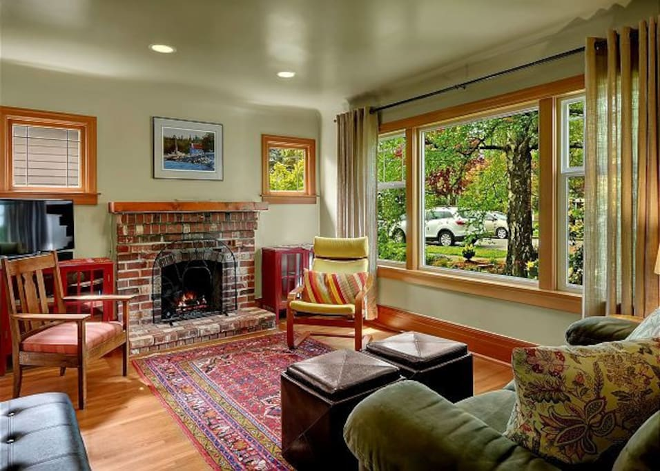 Cozy living room with garden view