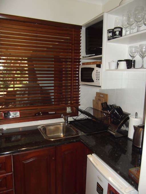 Kitchenette-microwave (no stove), toaster, kettle