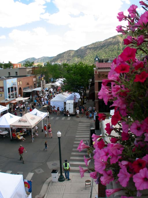 View from 884 sf private Deck of Main St Festival