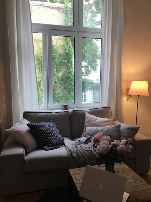 Sofa & Ausblick aus dem Zimmer
