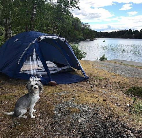 Tält med plats för 3 personer (alternativt 2 vuxna och 2 barn) Obs: vakthunden medföljer ej.